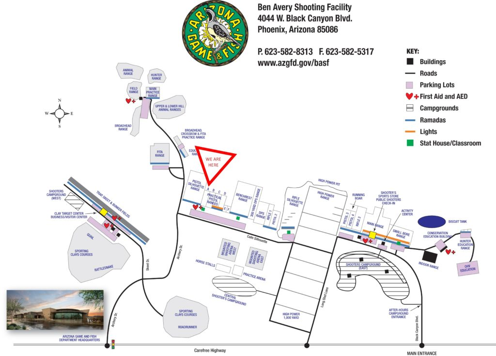 Location of Practical Pistol A Range at Ben Avery Shooting Range