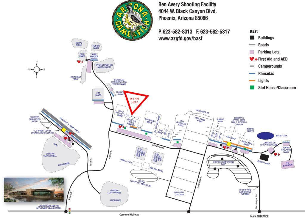Location of Practical Pistol B Range at Ben Avery Shooting Range