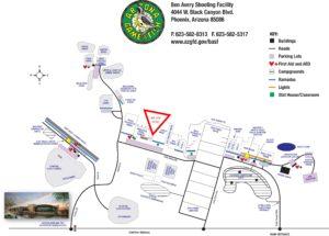 Location of Practical Pistol F Range at Ben Avery Shooting Range